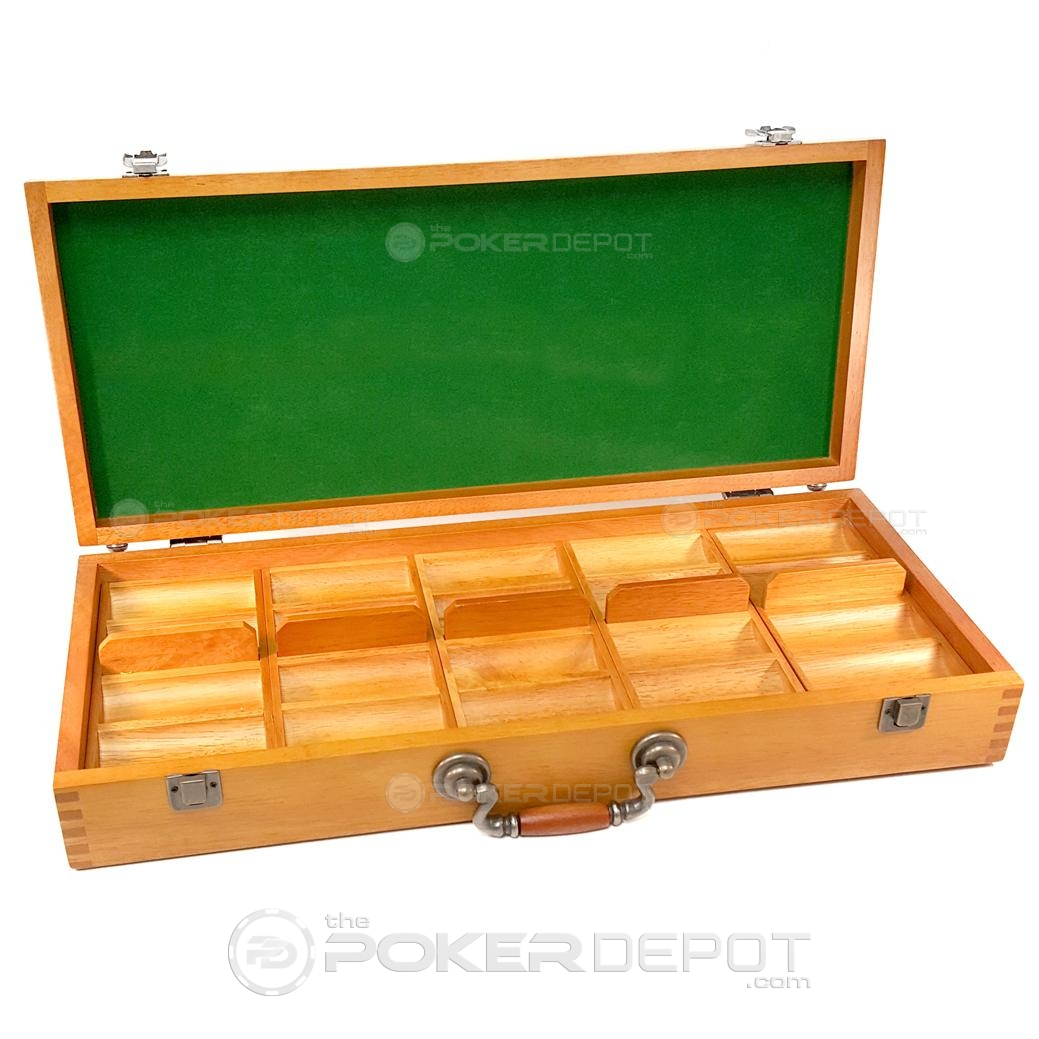 Oak Wood Poker Chips Case 500ct