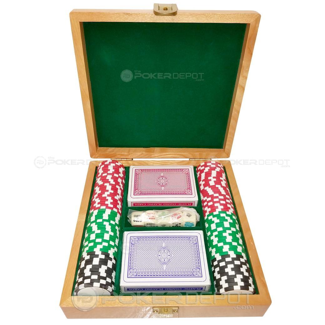 Oak Wood Poker Chips Set 100ct
