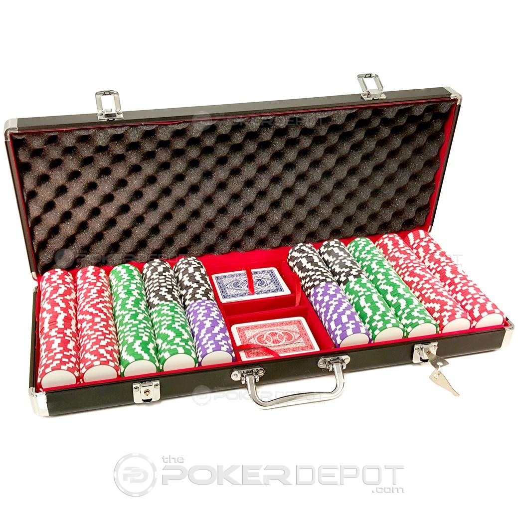 Black Aluminium Poker Chip Set 500ct