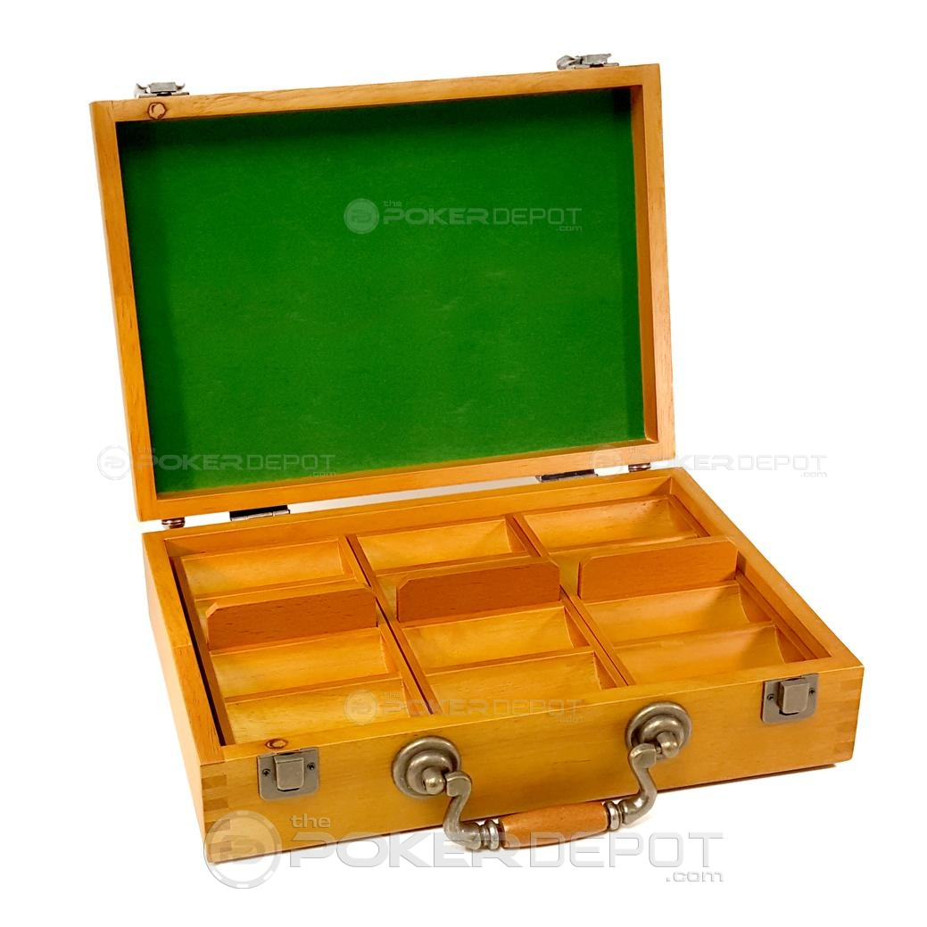 Oak Wood Poker Chips Case 300ct
