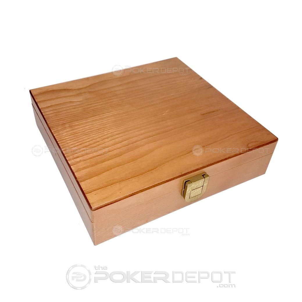 Oak Wood Poker Chips Case 100ct