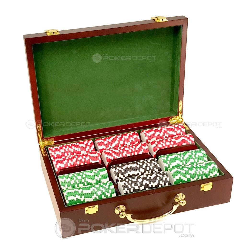 Mahogany Wood Poker Chips Set 300ct