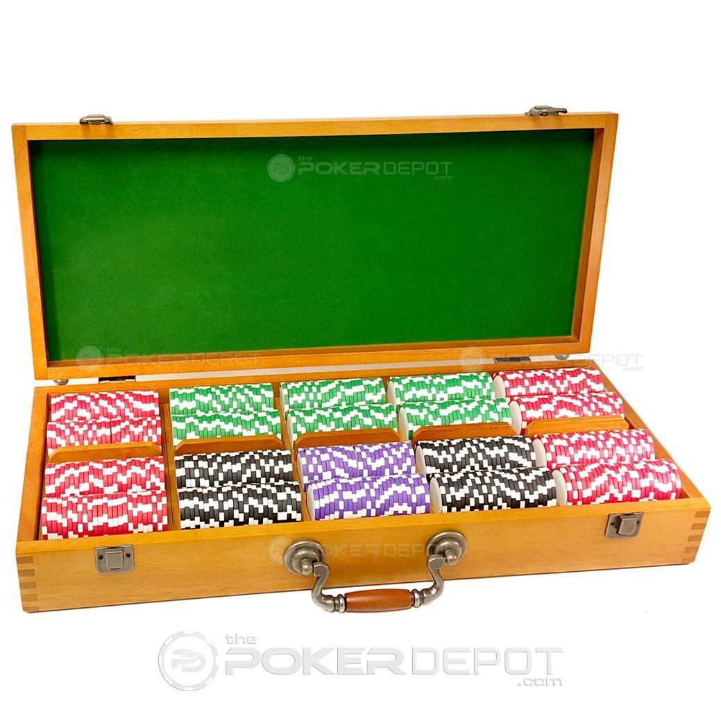 Oak Wood Poker Chips Set 500ct