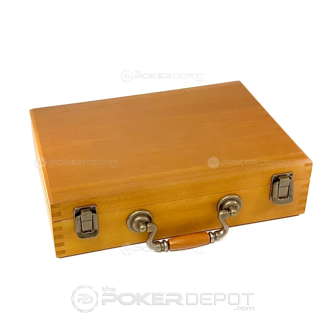 Oak Wood Poker Chip Case 300 Count