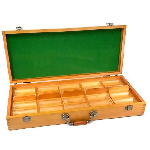 500ct Oak Poker Chip Display Case (Empty)