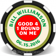 Hole In One Free Round Custom Clay Poker Chips